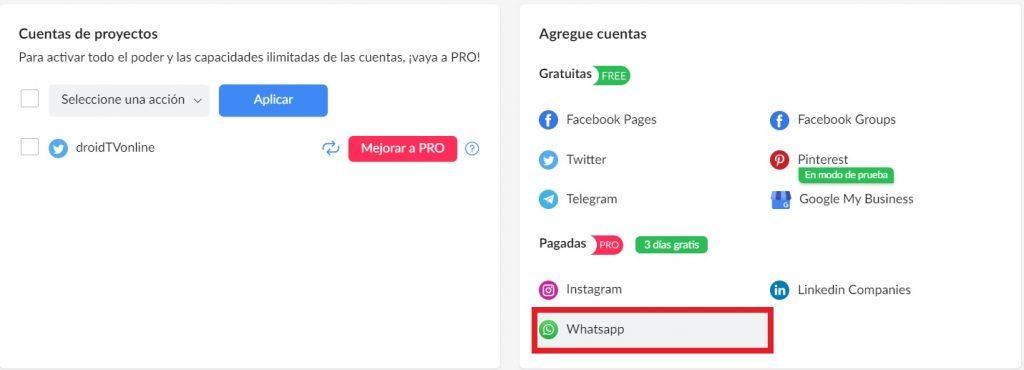 Publicación programada en Whatsapp